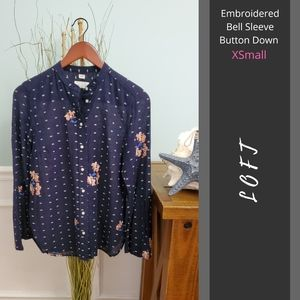 LOFT | Sheer Embroidered Bell Sleeve Button Down